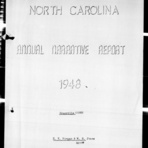 Annual Narrative Report of Extension Agents, Granville County, NC, 1948