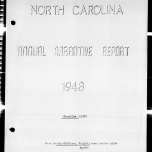 Annual Narrative Report of Home Demonstration Agents, Granville County, NC, 1948