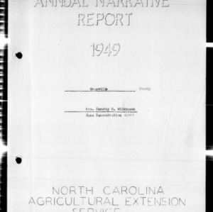 Annual Narrative Report of Home Demonstration Agent, Granville County, NC, 1949