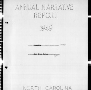 Annual Narrative Report of Home Demonstration Agent, African American, Granville County, NC, 1949