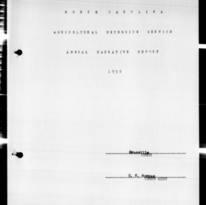Agricultural Extension Service Annual Narrative Report, Granville County, NC, 1950