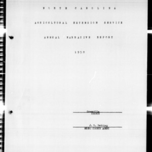Agricultural Extension Service Annual Narrative Report, African American, Granville County, NC, 1950