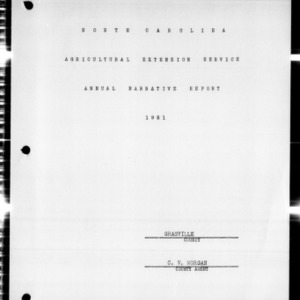 Agricultural Extension Service Annual Narrative Report, Granville County, NC, 1951