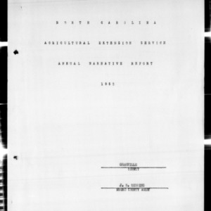 Agricultural Extension Service Annual Narrative Report, African American, Granville County, NC, 1952