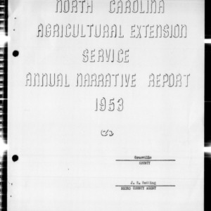 Agricultural Extension Service Annual Narrative Report, African American, Granville County, NC, 1953
