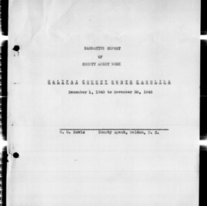 Annual Narrative Report of County Agent Work, Halifax County, NC