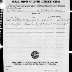Annual Report of County Extension Agents, Halifax County, NC