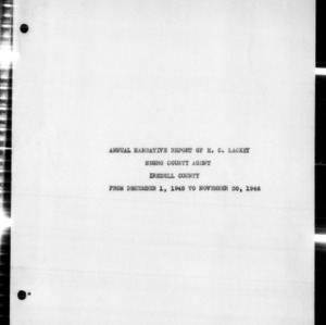 Annual Narrative Report of Negro County Agent, Iredell County, NC
