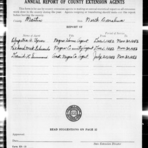 Annual Report of County Extension Agents, Martin County, NC