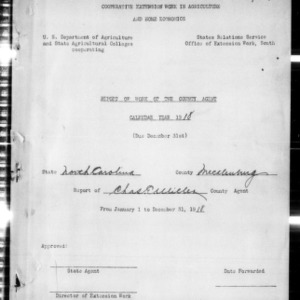Cooperative Extension Work in Agriculture and Home Economics, Report of Work of the County Agent, Mecklenburg County, NC