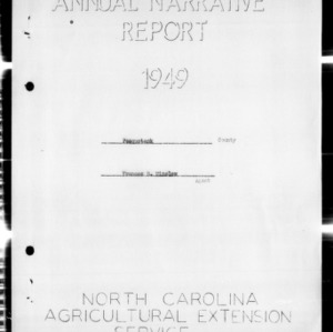 North Carolina Agricultural Extension Service Annual Narrative Report of Home Demonstration in Pasquotank County, NC
