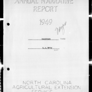 North Carolina Agricultural Extension Service Annual Narrative Report, Pasquotank County, NC