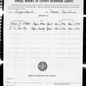 Annual Report of County Extension Agents, Pasquotank County, NC