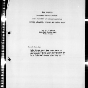 1942 Combined Relocation and Readjustment Annual Narrative and Statistical Report for Fontana, Apalachia, Hiwassee and Chatuge Areas, Swain County, NC