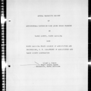 Annual Narrative Report of Agricultural Extension Work Among African American Farmers, Vance County, NC