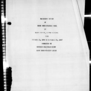 Annual Narrative Report of Home Demonstration Work, Vance County, NC