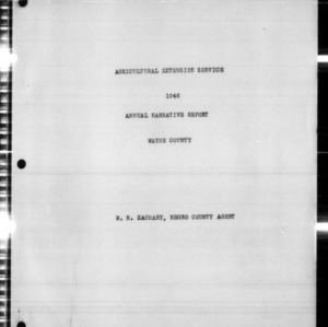 Agricultural Extension Service Annual Narrative Report, Wayne County, NC