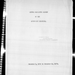 Annual Narrative Report of the Assistant Director