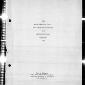 Annual Narrative Report Home Demonstration Division with Background of Work 1911-1936