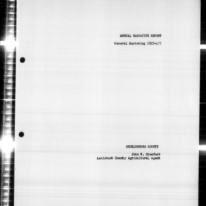 Annual Narrative Report of General Marketing for the Southwestern District of North Carolina, 1958