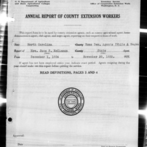 Annual Report of County Home Demonstration Workers, White and African American State Agents