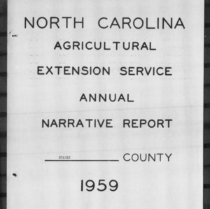 North Carolina Agricultural Extension Service Annual Narrative Report, Stanly County, NC