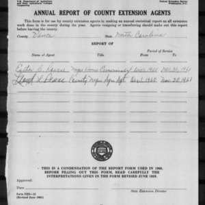 Annual Report of County Extension Agents, Vance County, NC