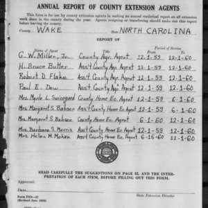 Annual Report of County Extension Agents, Wake County, NC