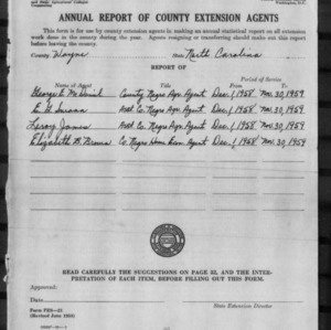 Annual Report of County Extension Agents, Wayne County, NC