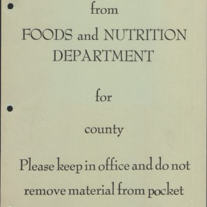 Foods and Nutrition Department Agents' Packet, pamphlets, and fliers