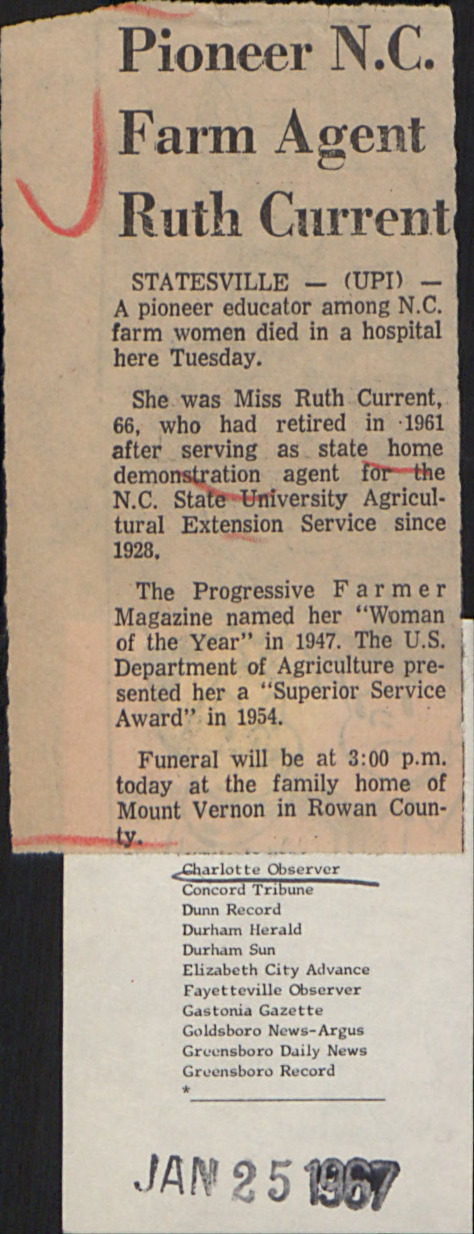 Biographies -- Current, Ruth :: Administrative Records