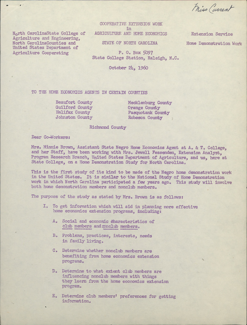 Negro Home Demonstration Work -- Correspondence :: Negro Home Demonstration :: Administrative Records