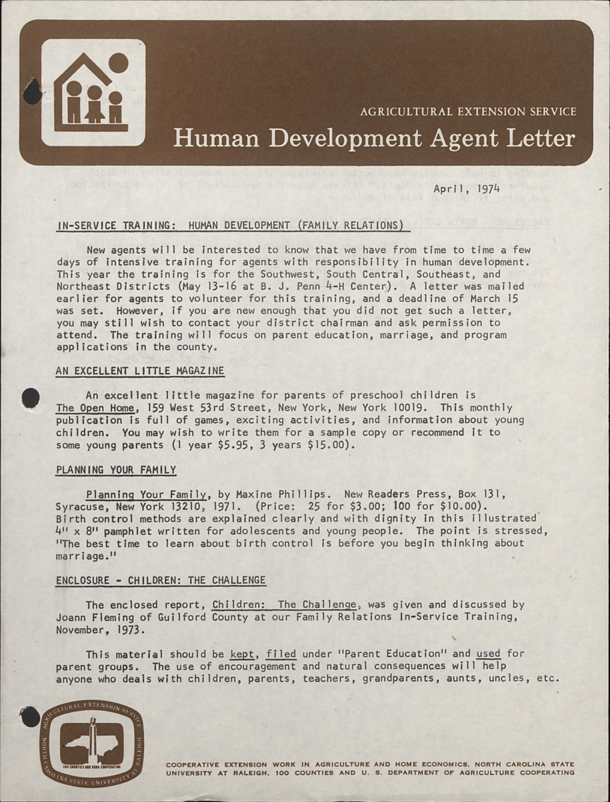 Newsletter --                              Human Development Agent Letter :: Administrative Records