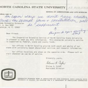 Newsletter --                             Tarheel Homemaker -- Correspondence :: Administrative Records