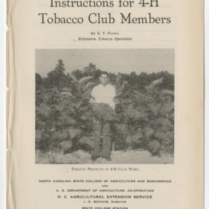 Instructions for 4-H Tobacco Club Members (Club Series No. 11)