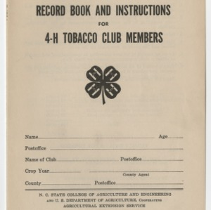 Record Book and Instructions for 4-H Tobacco Club Members (Club Series No. 11, Revised)