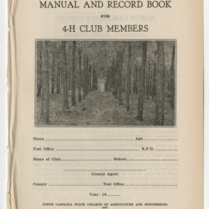 Forestry Manual and Record Book for 4-H Club Members (Club Series No. 8)