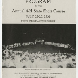Program of the Annual 4-H State Short Course (Club Series No. 9)