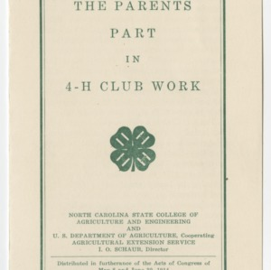 The Parents Part in 4-H Club Work (Club Series No. 13)