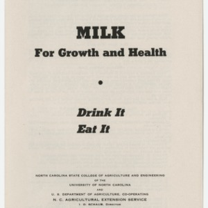 Milk For Growth and Health - Drink It Eat It (4-H Club Series No. 32)