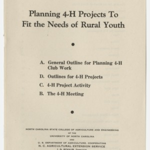 Planning 4-H Projects To Fit the Needs of Rural Youth (Club Series No. 51, Reprint)