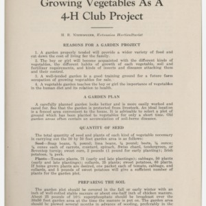 Growing Vegetables as a 4-H Club Project (Club Series No. 17, Reprint)