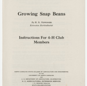 Growing Snap Beans: Instructions for 4-H Club Members (Club Series No. 23)