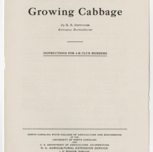 Growing Cabbage: Instructions for 4-H Club Members (Club Series No. 26)