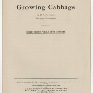 Growing Cabbage: Instructions for 4-H Club Members (Club Series No. 26, Reprint)