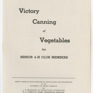 Victory Canning of Vegetables for Senior 4-H Club Members (4-H Club Series No. 37)