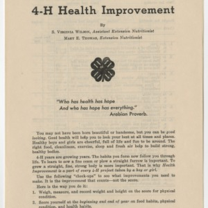 4-H Health Improvement (4-H Club Series No. 41)