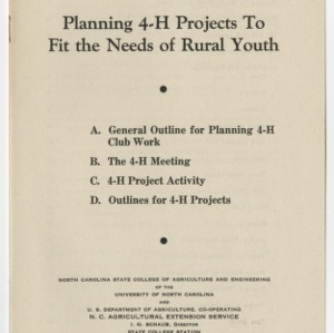 Planning 4-H projects to fit the needs of rural youth (Club Series No. 51)