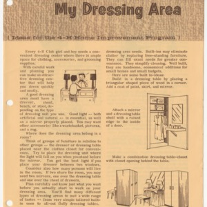 My Dressing Area (Ideas for the 4-H Home Improvement Program) (Club Series 95, Revised)