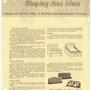 Sleeping Area Ideas (Ideas for Early Teen 4-H Room Improvement Project) (Club Series No. 96, Revised)